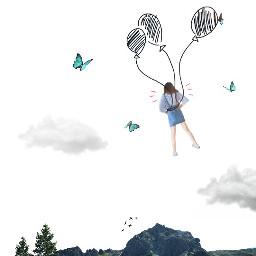 freetoedit sky baloons mountains