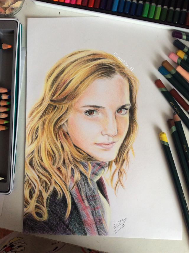 Finished the portrait of Hermione Granger 😋 Ahh the effort x.x #art #drawing #portrait #harrypotter #hermionegranger #emmawatson