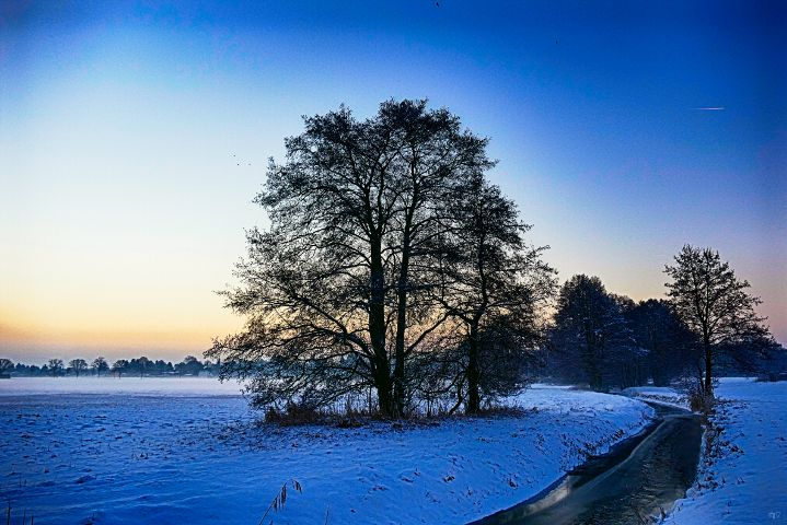 winter panorama landscape blue hdr