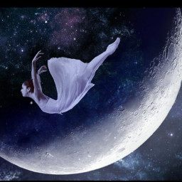 moon universe falling stardust stars